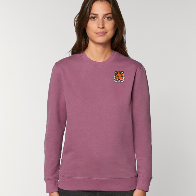 tommy and lottie adults organic tiger sweatshirt - mauve