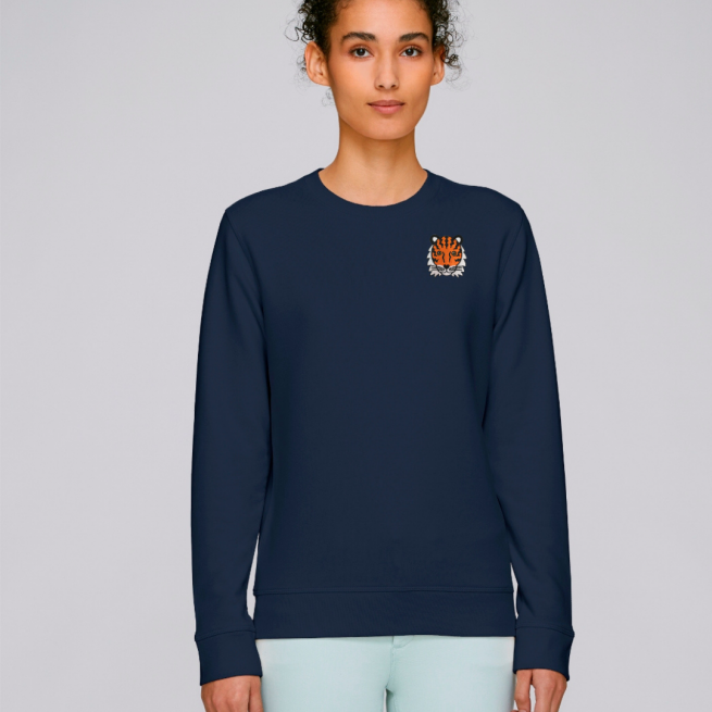 tommy and lottie adults organic cotton tiger sweatshirt - navy