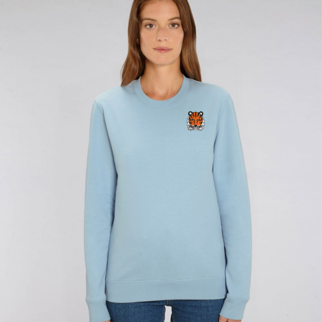 tommy and lottie adults organic tiger sweatshirt - pale blue