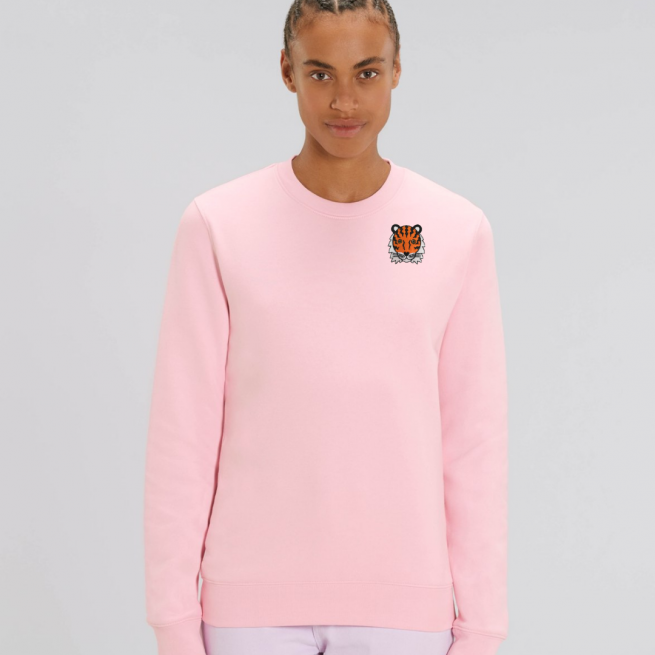 tommy and lottie adults organic tiger sweatshirt - pale pink
