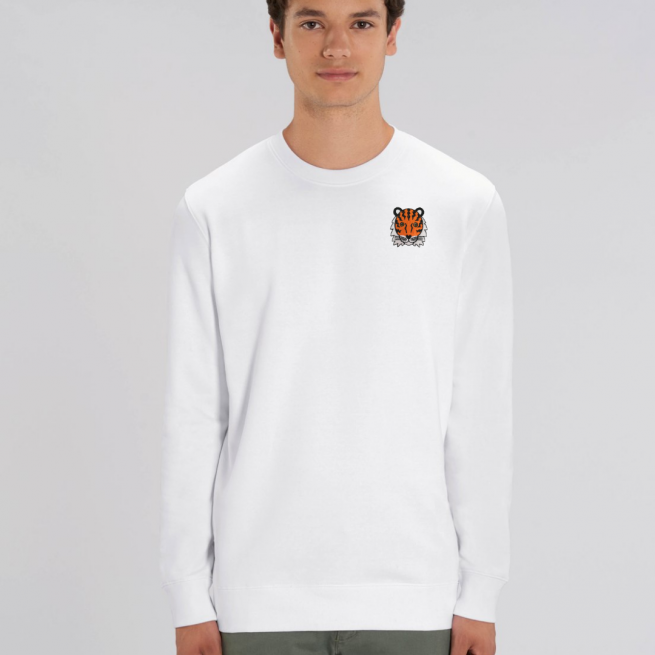 tommy and lottie adults organic cotton tiger sweatshirt - white