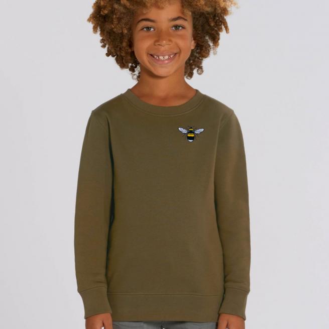 tommy & lottie childrens organic cotton bee sweatshirt - khaki