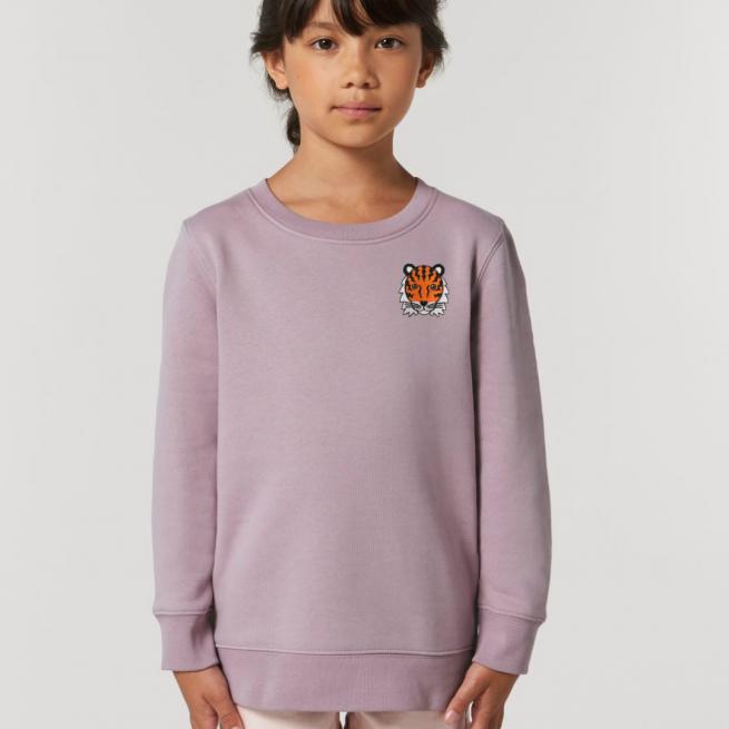 tommy & lottie childrens organic cotton tiger sweatshirt - lilac petal