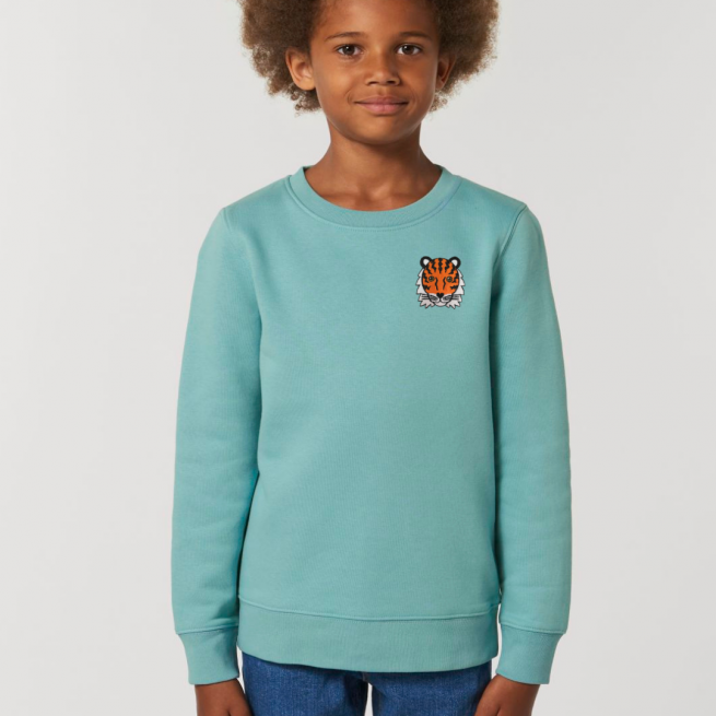 tommy & lottie childrens organic cotton tiger sweatshirt - teal monstera