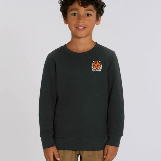 tommy & lottie childrens organic tiger sweatshirt - black