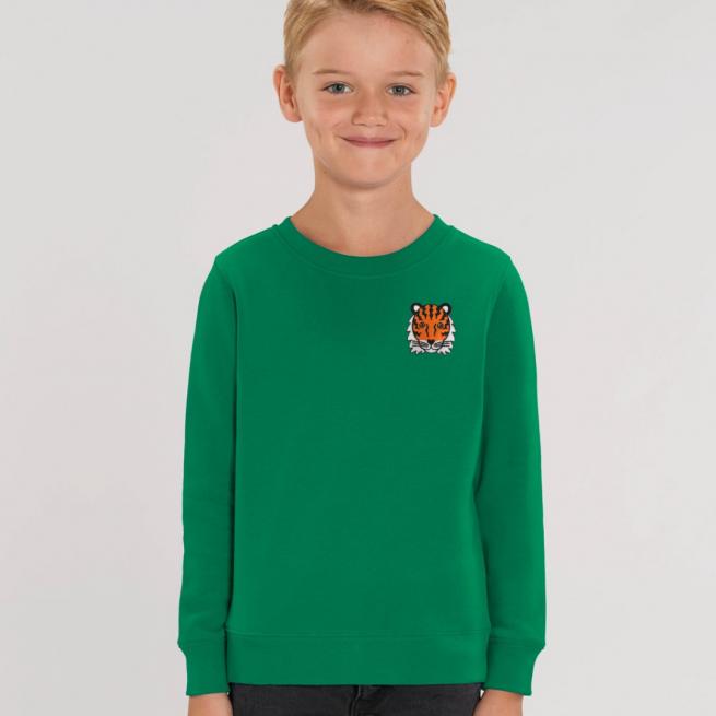 tommy & lottie childrens organic tiger sweatshirt - green