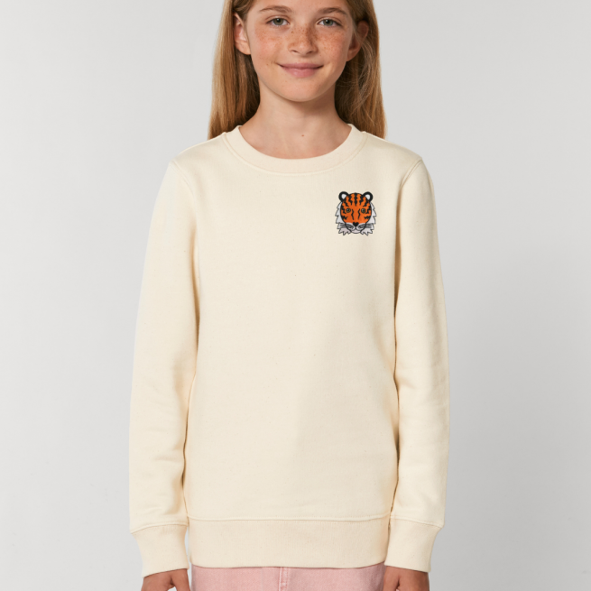 tommy & lottie childrens organic tiger sweatshirt - natural