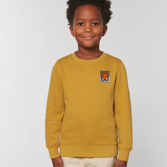tommy & lottie childrens organic tiger sweatshirt - ochre
