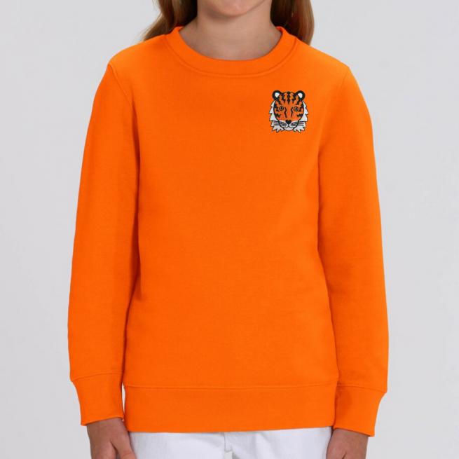 kids organic cotton orange tiger sweatshirt