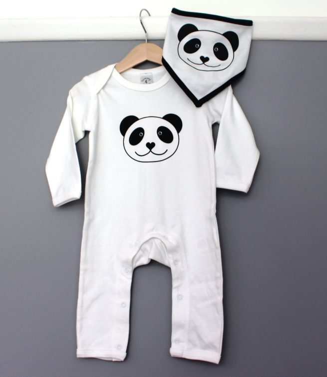 panda baby grow and matching reversible bib by tommy and lottie