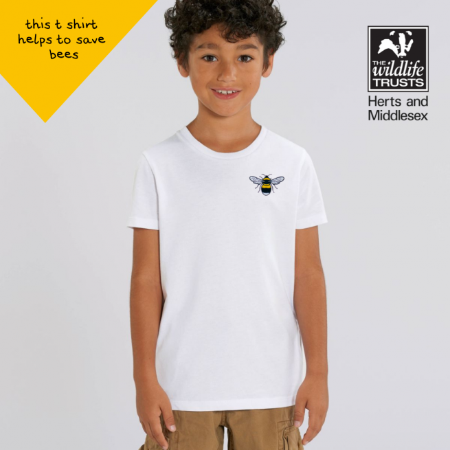 save the bees organic cotton white t shirt by tommy & lottie