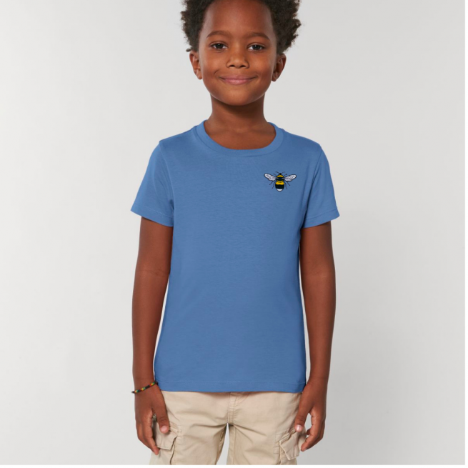 Tommy & Lottie Organic Cotton Kids Bright Blue Bee T Shirt