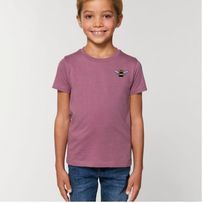 Tommy & Lottie Organic Cotton Kids Mauve Bee T Shirt