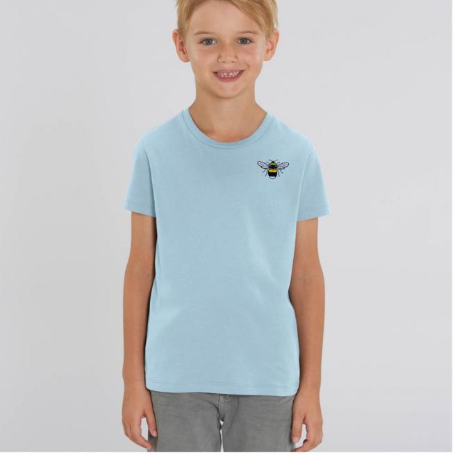Tommy & Lottie Organic Cotton Kids Pale Blue Bee T Shirt