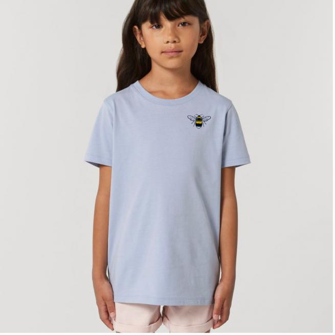 Tommy & Lottie Organic Cotton Kids Serene Blue Bee T Shirt