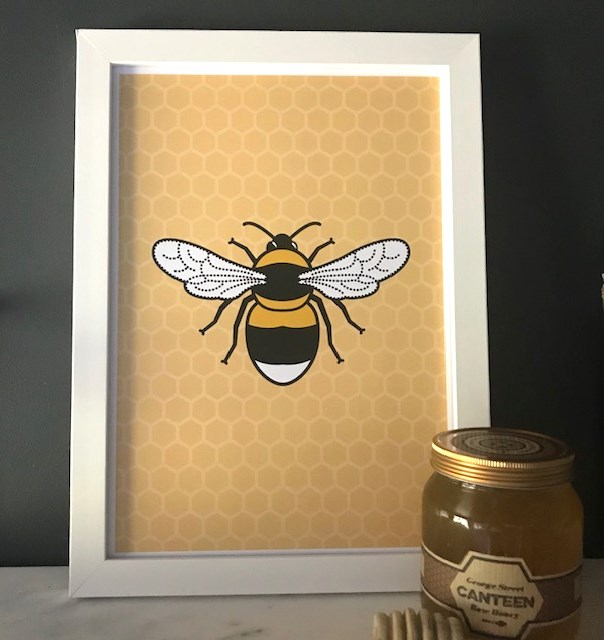 Tommy & Lottie A4 Bee Print - honeycomb
