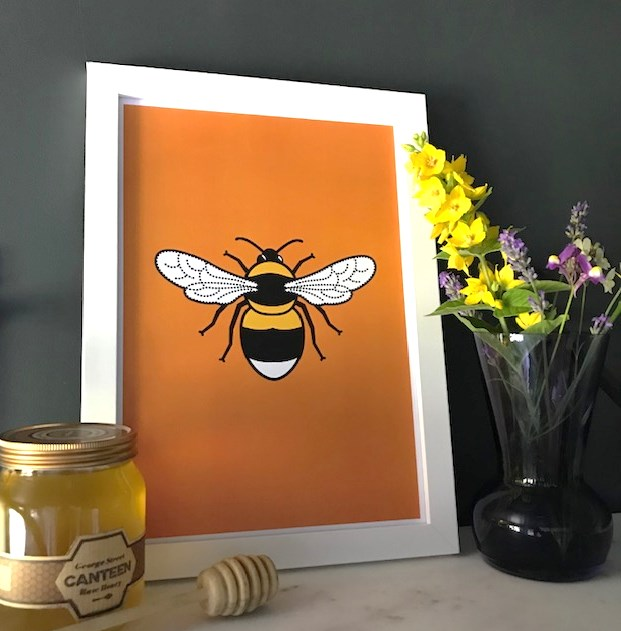 tommy and lottie A4 bee print orange background