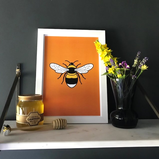 orange A4 bee print - tommy and lottie