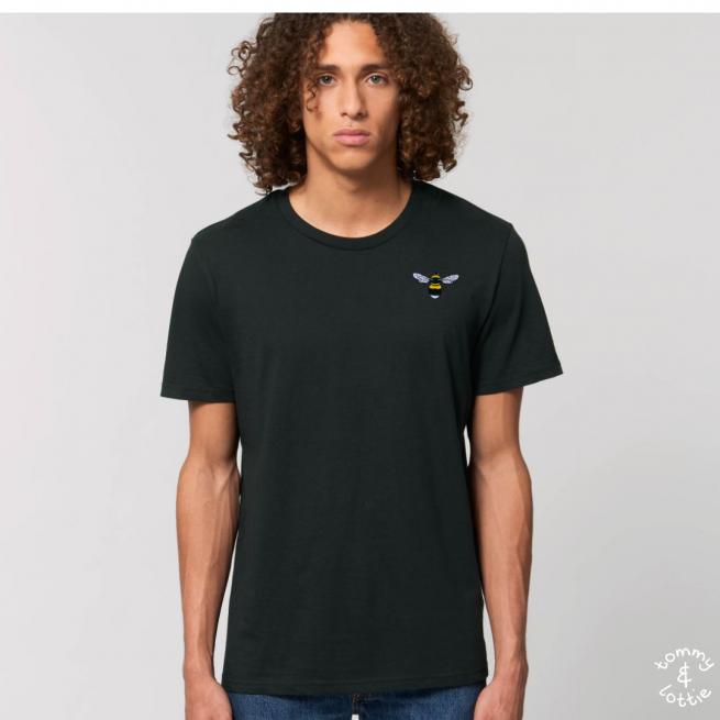 Tommy & Lottie Adults Organic Cotton Black Bee T Shirt