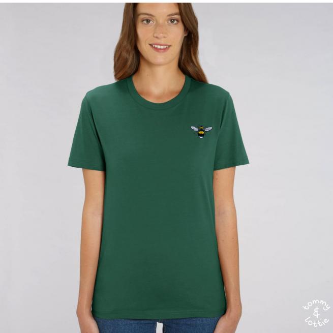 Tommy & Lottie Adults Organic Cotton Bottle Green Bee T Shirt
