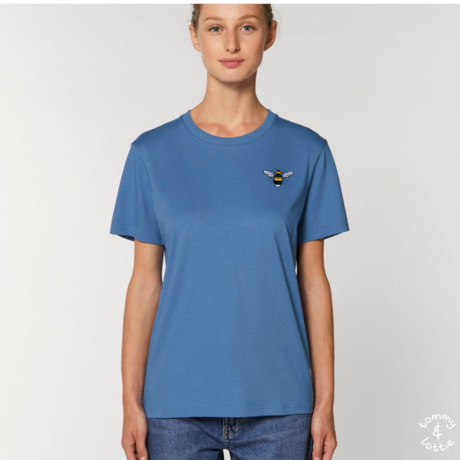 Tommy & Lottie Adults Organic Cotton Bright Blue Bee T Shirt