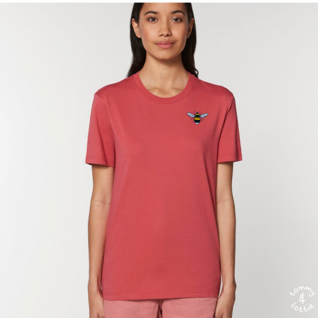 Tommy & Lottie Adults Organic Cotton Carmine Red Bee T Shirt
