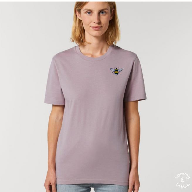 Tommy & Lottie Adults Organic Cotton Lilac Petal Bee T Shirt