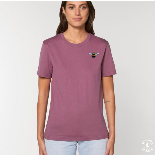 Tommy & Lottie Adults Organic Cotton Mauve Bee T Shirt