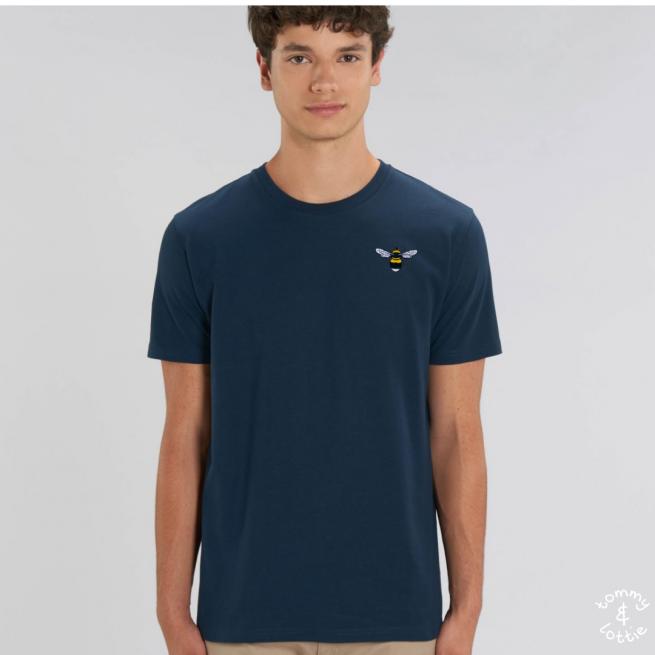 Tommy & Lottie Adults Organic Cotton Navy Bee T Shirt