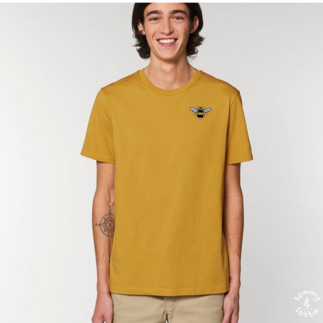 Tommy & Lottie Adults Organic Cotton Ochre Bee T Shirt