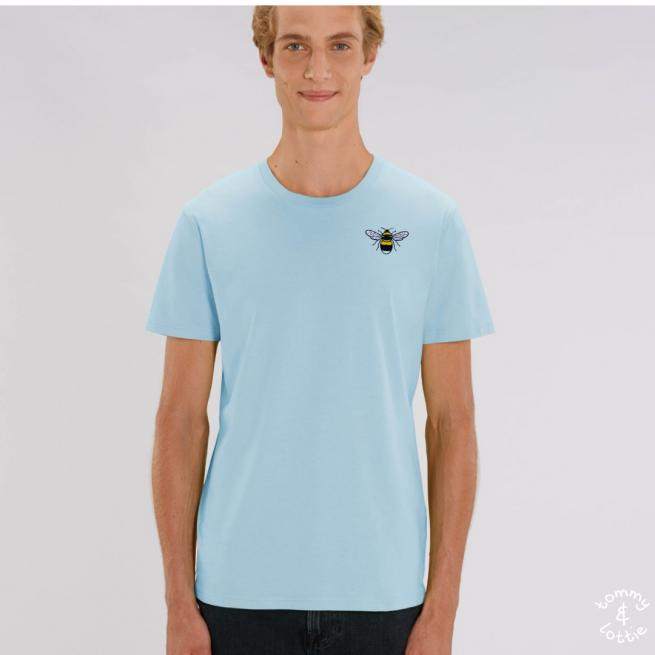 Tommy & Lottie Adults Organic Cotton Pale Blue Bee T Shirt