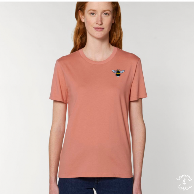 Tommy & Lottie Adults Organic Cotton Rose Clay Bee T Shirt