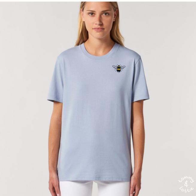 Tommy & Lottie Adults Organic Cotton Serene Blue Bee T Shirt