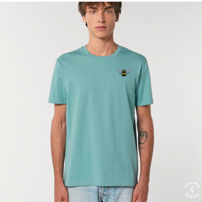 Tommy & Lottie Adults Organic Cotton Teal Monstera Bee T Shirt