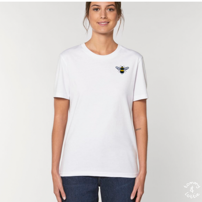 Tommy & Lottie Adults Organic Cotton White Bee T Shirt