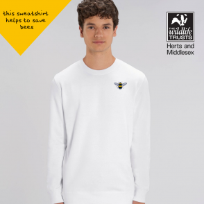 save the bees organic cotton white sweatshirt by tommy & lottie