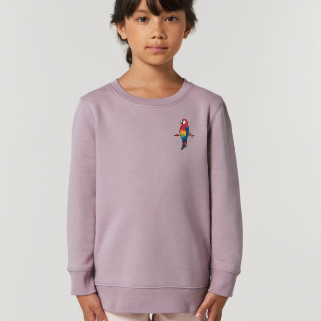 tommy & lottie childrens organic cotton parrot sweatshirt - lilac petal
