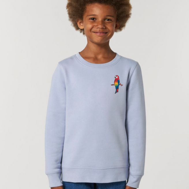 tommy & lottie childrens organic cotton parrot sweatshirt - serene blue