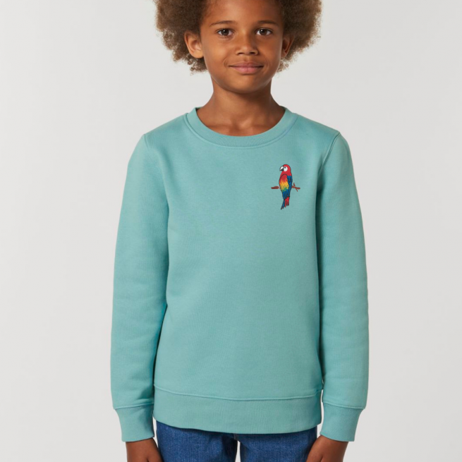 tommy & lottie childrens organic cotton parrot sweatshirt - teal monstera
