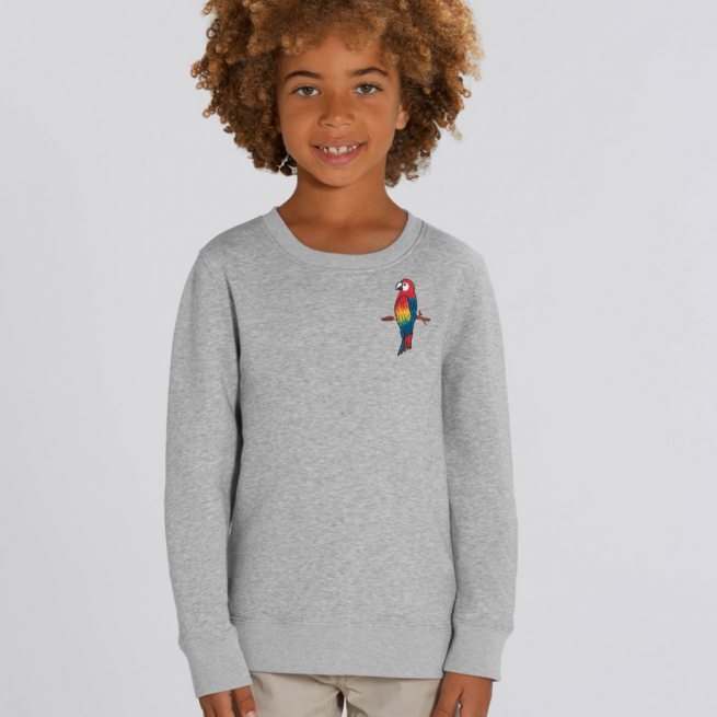 tommy & lottie childrens organic parrot sweatshirt - grey marl