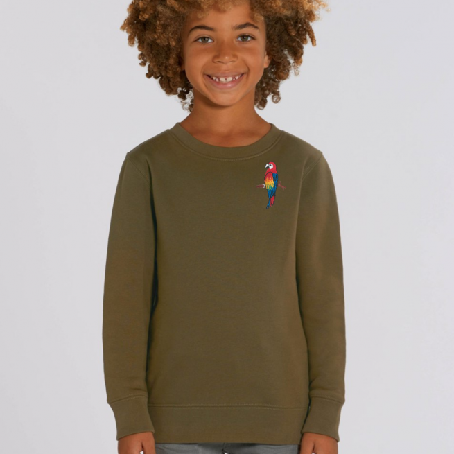 tommy & lottie childrens organic parrot sweatshirt - khaki