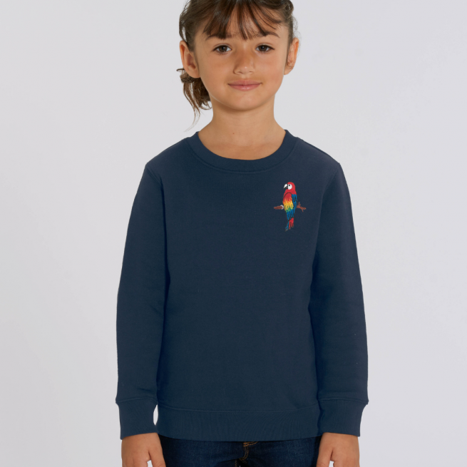 tommy & lottie childrens organic parrot sweatshirt - navy