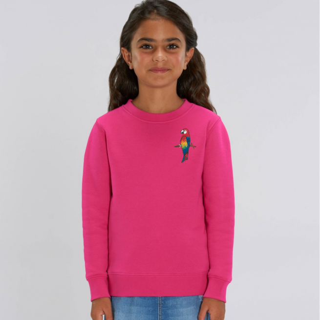 tommy & lottie childrens organic parrot sweatshirt - pink