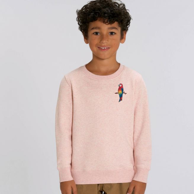 tommy & lottie childrens organic parrot sweatshirt - pink cream marl