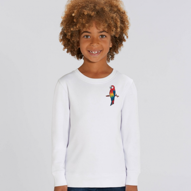 tommy & lottie childrens organic parrot sweatshirt - white