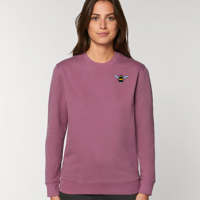 tommy & lottie organic cotton save the bees sweatshirt - adults- mauve