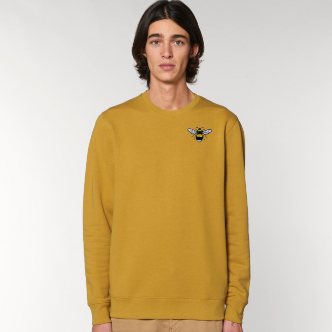 tommy & lottie organic cotton save the bees sweatshirt - adults- ochre