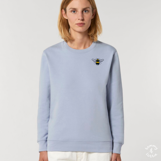 tommy & lottie organic cotton save the bees sweatshirt - adults-serene blue
