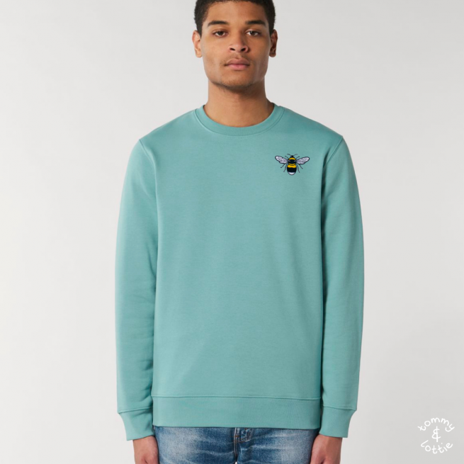 tommy & lottie organic cotton save the bees sweatshirt - adults - teal monstera