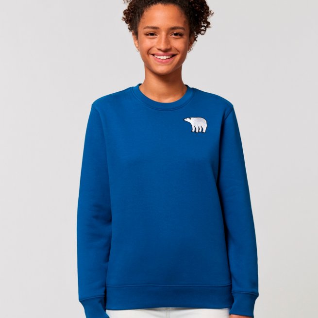 tommy and lottie adults organic cotton polar bear sweatshirt - blue